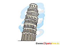 Toren van Pisa Italië reizen illustratie, grafisch, foto gratis