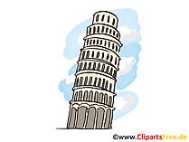 Turm von Pisa Italien Reise Illustration, Grafik, Bild gratis