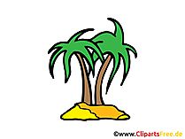 Unbewohnte Insel Bild, Clipart, Illustration, Comic, Cartoon gratis