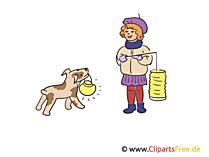 Frau mit Hund af Laternenfest Illustration, Clipart, Bild