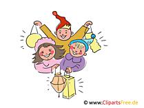 Fröhliche Kinder beim Laternenfest Illustration, Clipart, Bild gratis