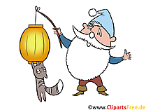 gnome with lantern  - ランタン行列クリップアート