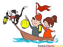 Kinder im Schiff mit Laternen Clipart, Illustration, Bild
