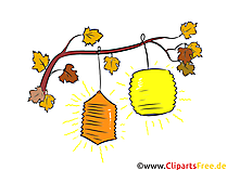 Laternen am Baum Clipart, Illustration, Bild