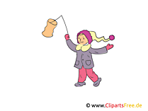 Mädchen mit Laterne Clipart, Bild, Illustration