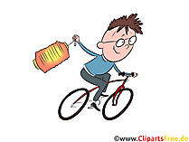 Martinstag, Junge, Fahrrad Clipart, Illustration, Bild