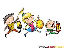 Mid Autumn Festival z dzieci bawiących latarnie