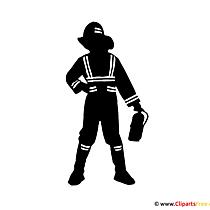 Silhouette Feuerwehrmann