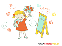 Afbeeldingen School Clipart - Girl with Bouquet