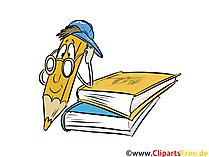 Bücher und Buntstift-Maskottchen Cliparts, Cartoon, Bild