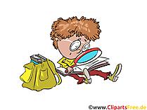 Clipart kostenlos Schüler mit Lupe, Schulranzen, Lesen Buch