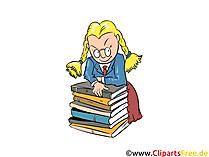 Clipart Streber, Streberin, Schülerin, Bücher Stapel