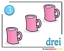 Drei - Clipart für Matheunterricht