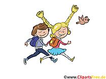 Fröhliche Schüler, Kinder gehen in die Schule Clipart, Bild, Cartoon, Comic