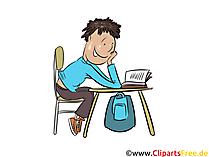 Hausaufgaben machen Clipart, Illustration, Grafik, Bild