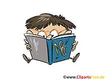 イラスト少年は本、学校、生徒、学習を読みます
