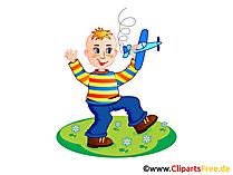 少年は小学校で遊ぶ - クリップアート小学校