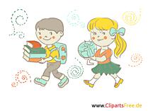 子供たちは学校に行きます - 地理の授業イラスト、絵、クリップアート