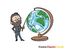Lehrer mit Globus Clipart, Bild, Grafik, Illustration