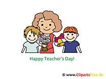 Lehrerin und Schueler Clipart, Bild, Karte, Glueckwuensche