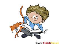 生徒、少年は本のイラスト、絵、グラフィックを読んでいます。