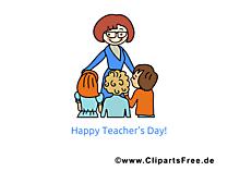 Schueler und Lehrerin Clipart, Bild, Karte, Glueckwuensche