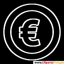 ユーロ記号クリップアート、画像、グラフィック、白黒イラスト
