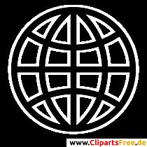 Globus Schwarz-Weisse Clipart Bilder