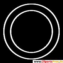 Kreis Clipart, Bild, Grafik, Illustration schwarz-weiss