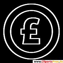 Pfund Zeichen Clipart, Bild, Grafik, Illustration schwarz-weiss
