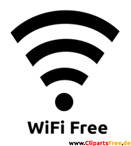WiFi Symbol Clipart, Bild, Grafik schwarz-weiss