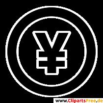 Yen Zeichen Clipart, Bild, Grafik, Illustration schwarz-weiss