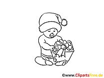 Baby Ausmalbild in Santa Claus Muetze