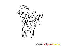 Elch und Santa Ausmalbild