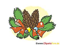 Grafik Clipart zu Neujahr, Silvester - Tannenbaum Kranz
