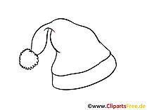 Gratis Malvorlage zu Silvester - Santa Muetze