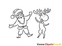 Santa und Elch Ausmalbild zum Ausmalen