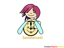 Uhr Sommerzeit - Bilder fuer Gaestebuch, GB Bild, Clipart