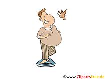 Reduceți greutatea Omului pe cântare Clipart, Ilustrație, Imagine