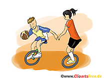 Fahrrad Basketball Clipart, Bild, Cartoon, Comic, Illustration