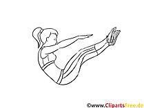 女性のための腹部の筋肉のトレーニングイラスト、描画、写真