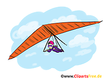 Fliegen Mit Deltaplan Cartoon, Clipart, Bild, Comic, Illustration