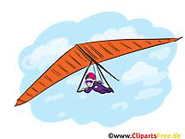 Deltaplan Karikatür Ile Uçan, Küçük Resim, Görüntü, Komik, Örnekleme
