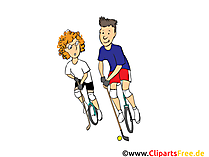 Golf auf Fahrrad Clipart, Bild, Cartoon, Comic, Illustration