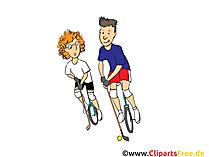自転車のクリップアート、イメージ、漫画、コミック、イラストでゴルフ