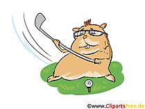 Criceto che gioca a golf clipart, cartone animato, foto, illustrazione
