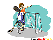 Hockey auf Fahrrad Clipart, Bild, Cartoon, Comic, Illustration