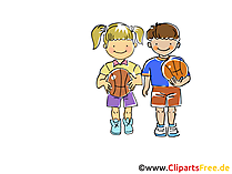 Kinder Baskettball Bild, Sport Clipart, Comic, Cartoon, Image gratis