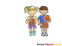 キッズバスケットボールのイメージ、スポーツのクリップアート、漫画、漫画、Image for Free