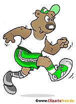 Pelari dengan ilustrasi prostesis dalam gaya kartun